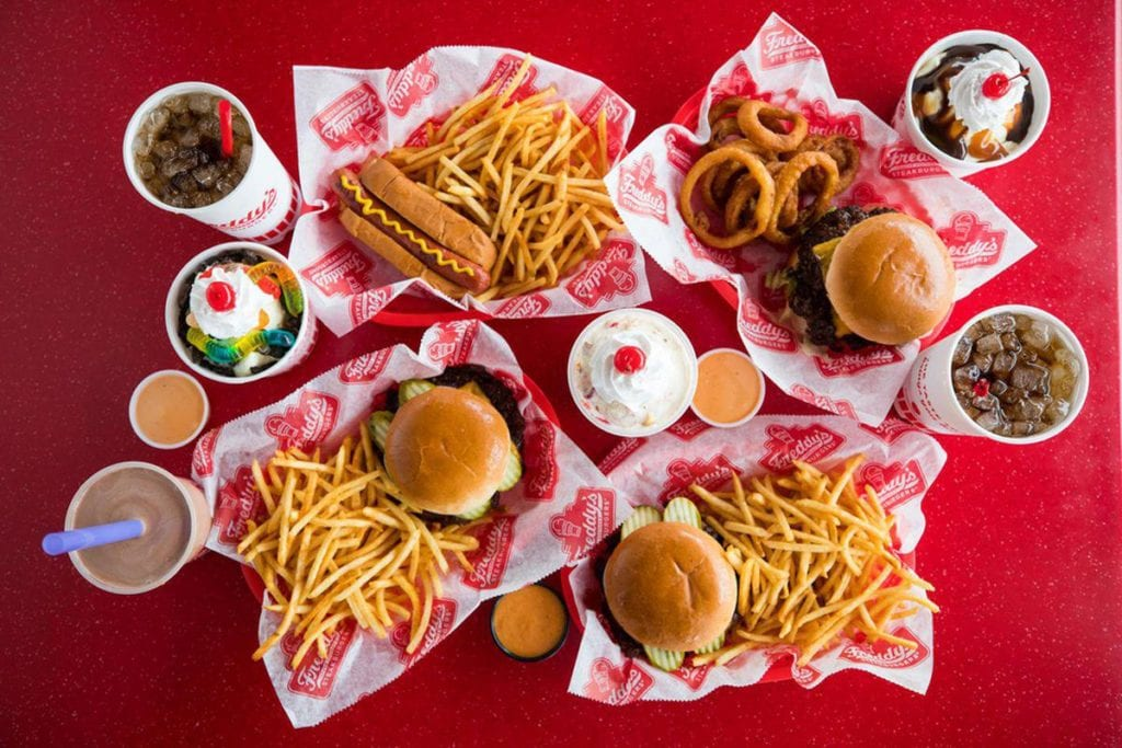 Meals, drinks and desserts from Freddy's