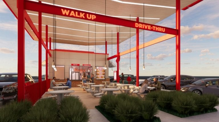 Freddy's new prototype option with double drive-thru and a walk-up ordering station