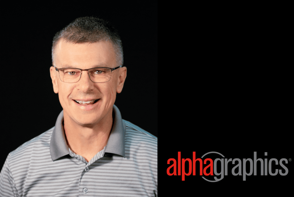 Steve Webb AlphaGraphics logo split screen