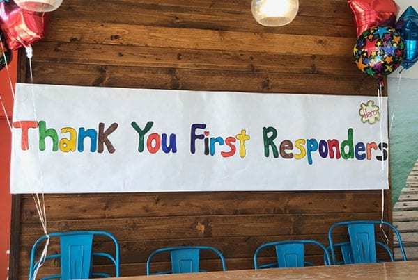 """Handmade sign saying """"Thank You First Responders"""""""
