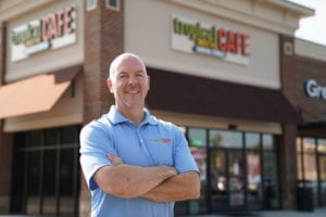 Franchise Owner Mike Haines in front of his Tropical Smoothie Cafe