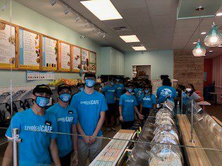 Tropical Smoothie Cafe crew members in their recently opened Cafe.