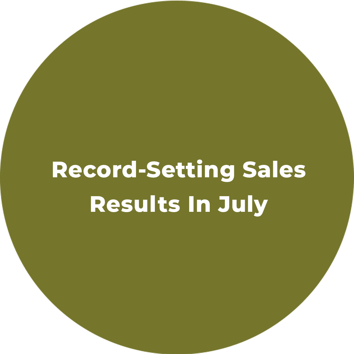 Record-Setting Sales Results In July
