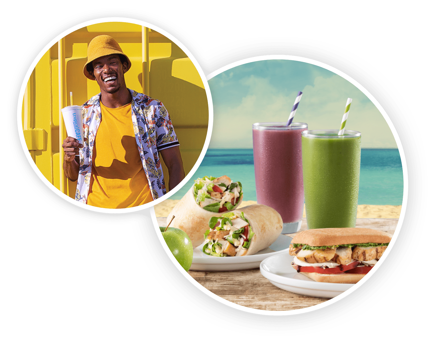 Happy guest with smoothies and food