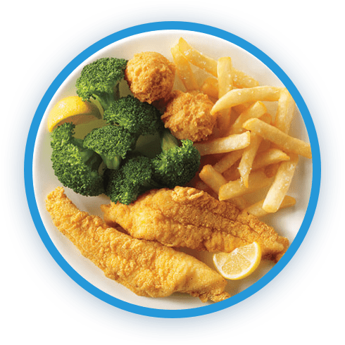 Captain D's meal with fish, fries and broccoli